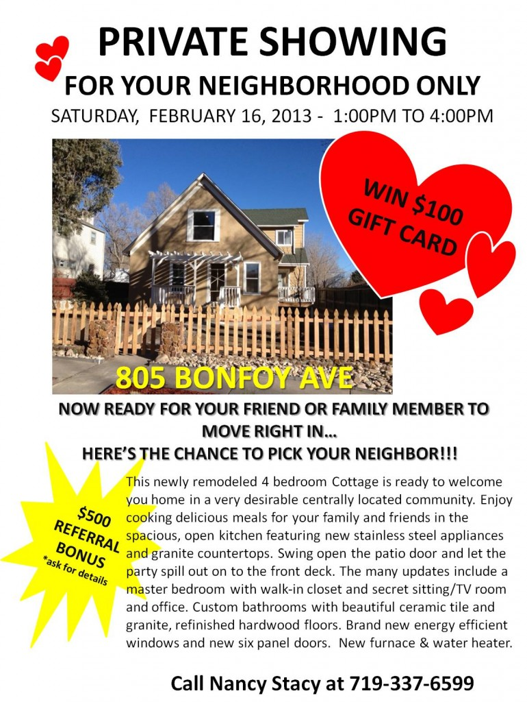 Open House February 16, 2013 – 1:00PM-4:00PM